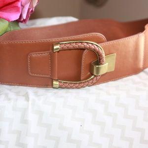Brown Braided Buckle belt